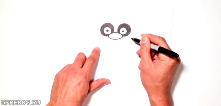 Рисуем глаза и нос Фредди