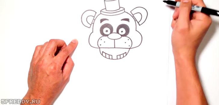 Голова, уши и шляпа Фредди из ФНАФ